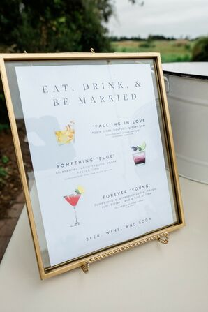 Illustrated Signature Cocktail Menu for Wedding at the Royal Crest Room in St. Cloud, Florida