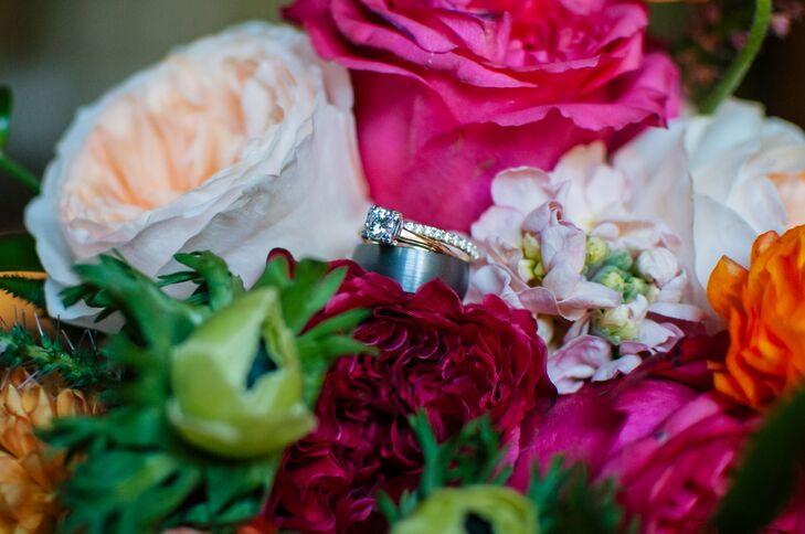 Engagement and Wedding Rings in Bright Pink Bouquet