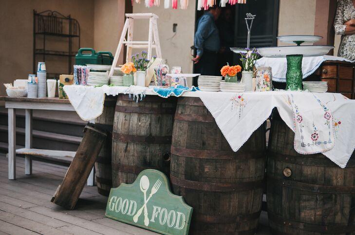 Rustic Vintage Food Display at Backyard Wedding