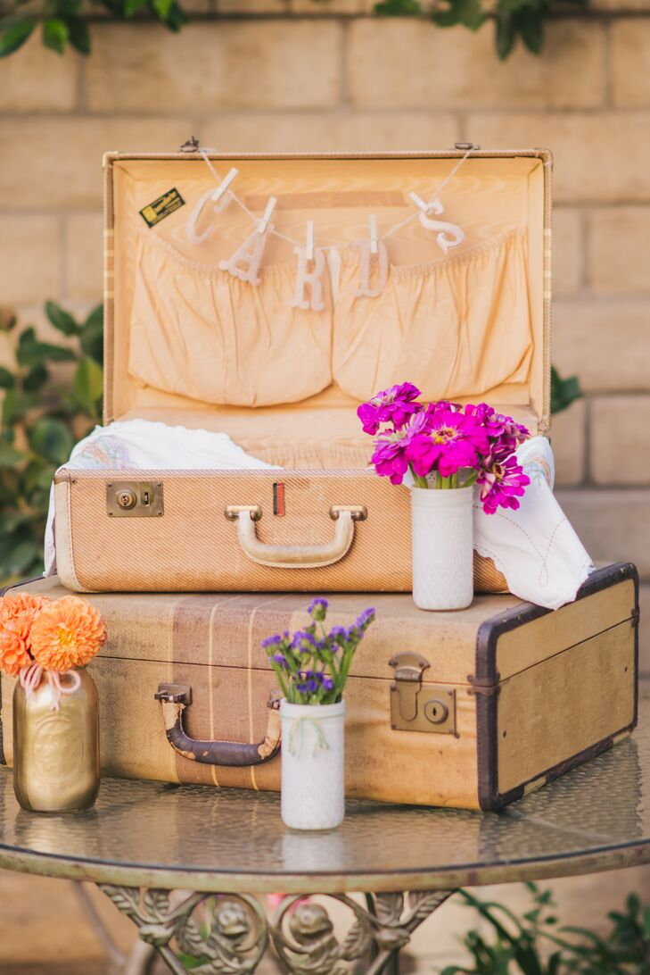 Vintage Suitcase Card Drop with Bright Flowers