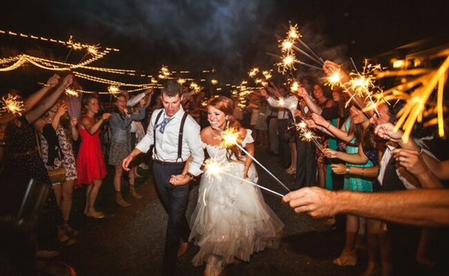 Audrey and Jeremy Roloff have a sparkler exit