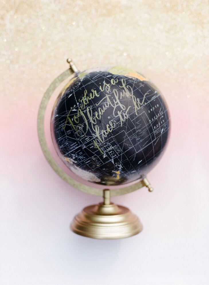 Gold Calligraphy 'No Place I'd Rather Be' Globe