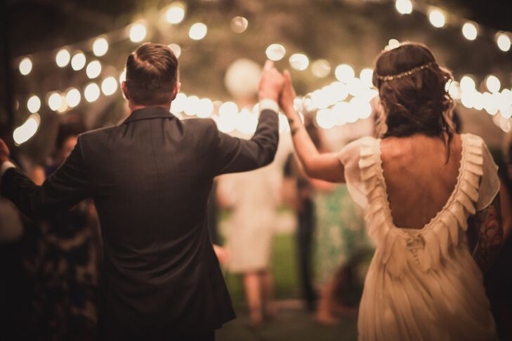 Sparkler Recessional from Newhall, California Backyard Wedding