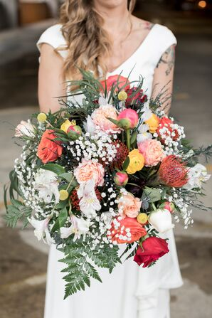 Oversize Protea, Rose and Fern Bouquet