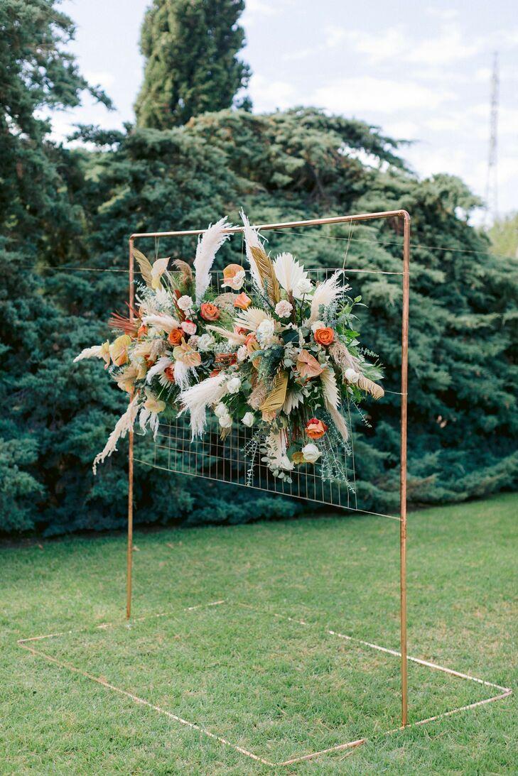 Dramatic Pampas Grass Ceremony Altar Backdrop