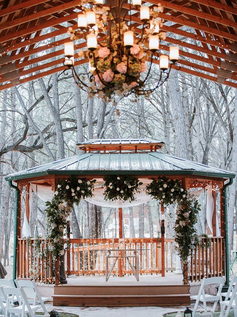A rustic gazebo for winter wedding