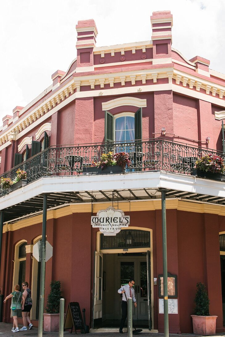 """After their 10 a.m. wedding, they kept things light with a brunch reception at Muriel's Jackson Square Bistro in New Orleans, Louisiania.""""It was the perfect setting,"""" Amber says. They even drew on the building's bright color scheme with a few matching accents."""