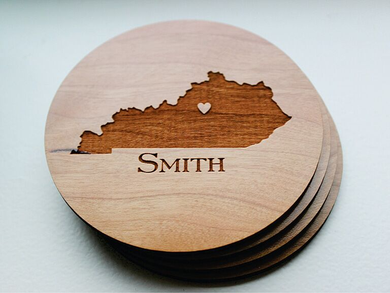 Etsy Wooden State Coaster Engagement Gift Ideas