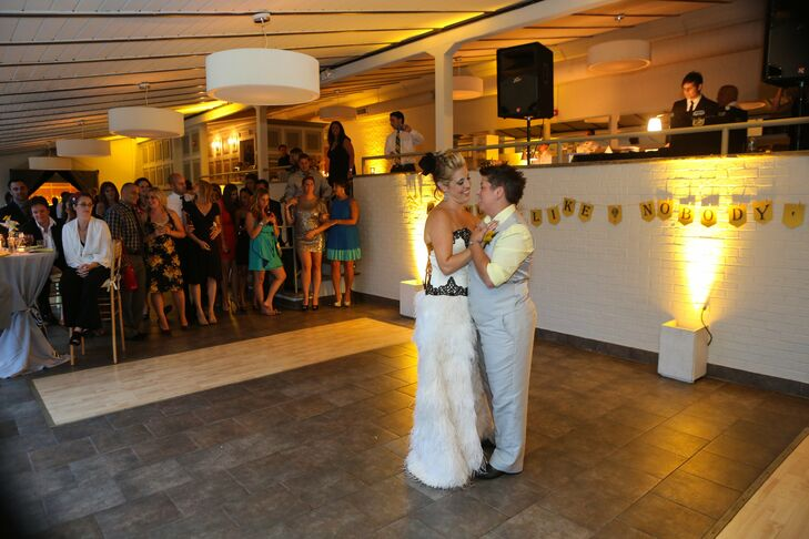 The couple took a spin on the dance floor to Eddie Veddar's Breathe.