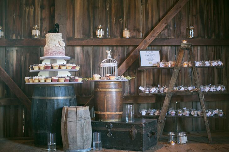 Rustic Barrel and Wooden Dessert Table