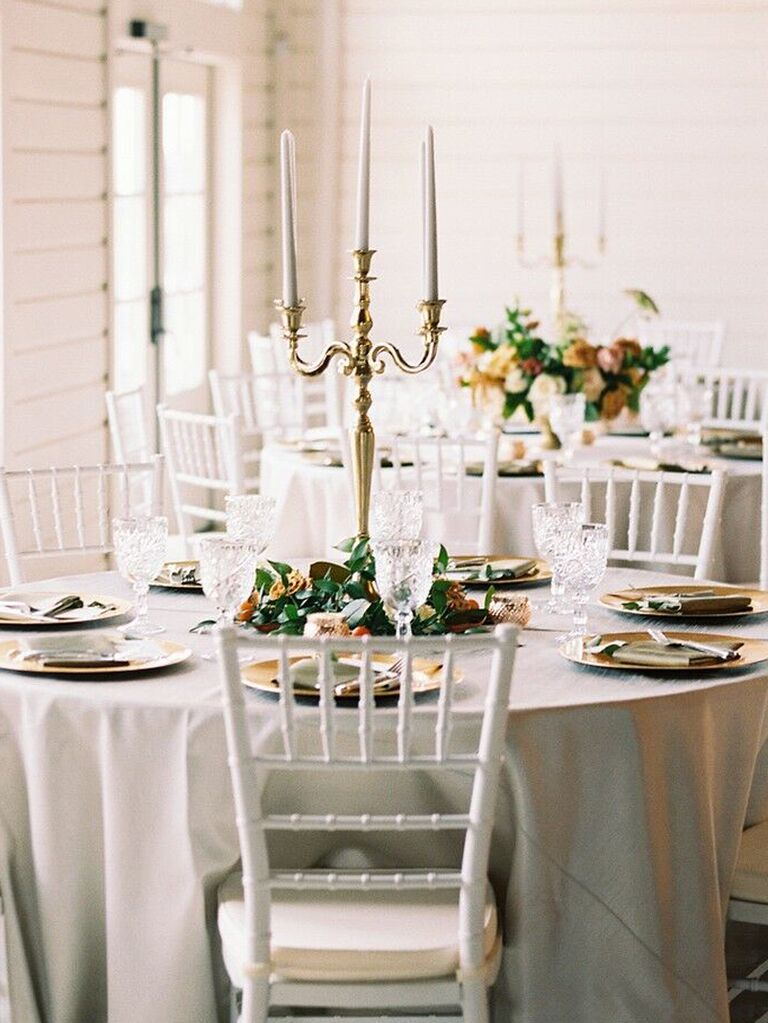 spring wedding centerpieces tall metallic candles holders