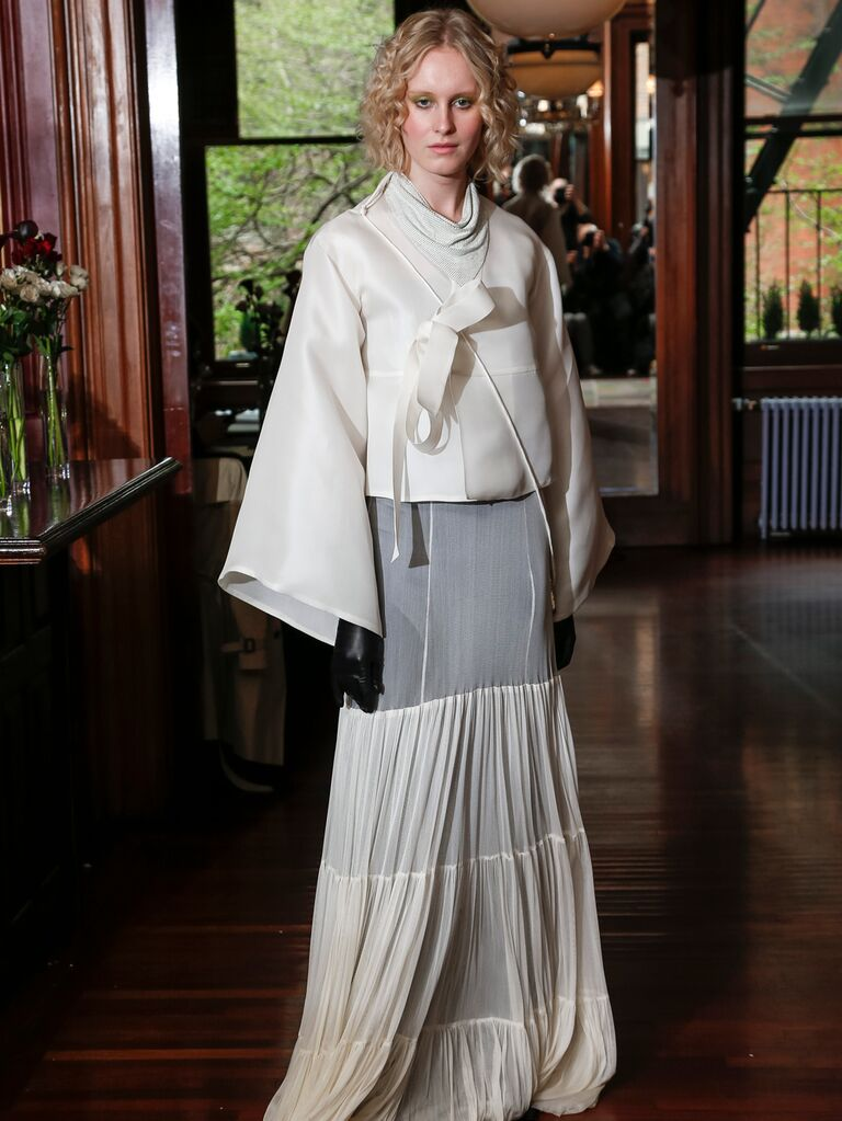 Monica Byrne Spring 2020 Bridal Collection bridal look with tiered skirt