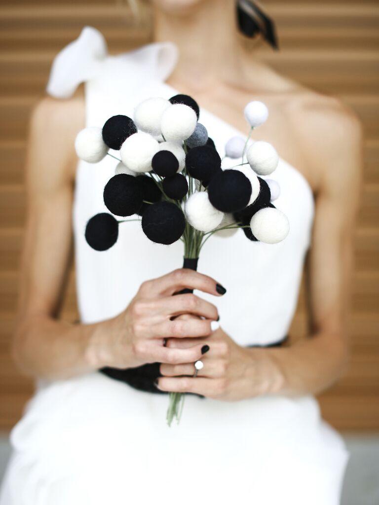 unique pom-pom wedding bouquet