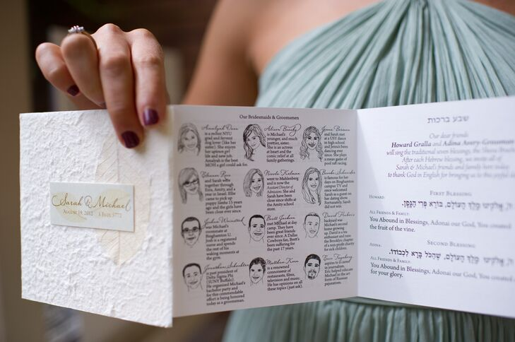 """""""We hand-designed everything, including the invitation (designed and hand-letter pressed with my family's help), ceremony program (there were hand-drawn illustrations of each member of the bridal party), reception menu, favors (vegan chocolate truffles) and more elements than I can count,"""" Sarah says."""