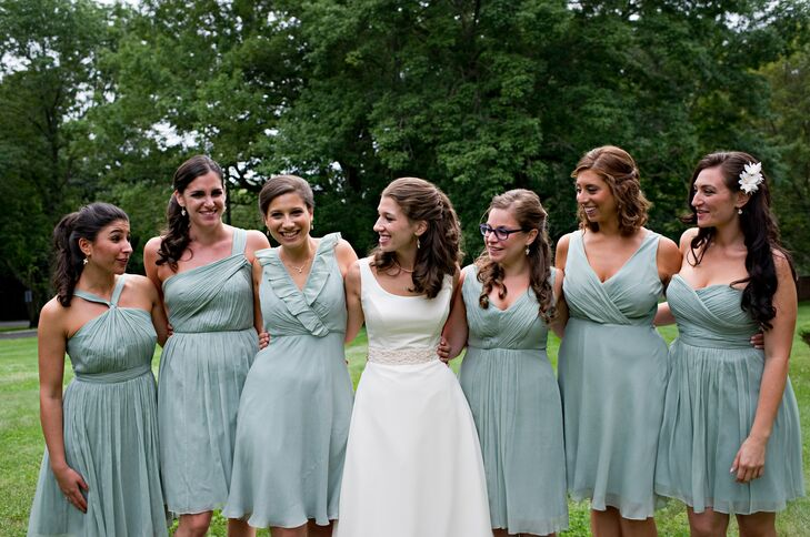 """""""My bridesmaids wore J. Crew silk chiffon dresses, all the same color, length and general style, but each of the six bridesmaids wore a different silhouette,"""" Sarah says."""