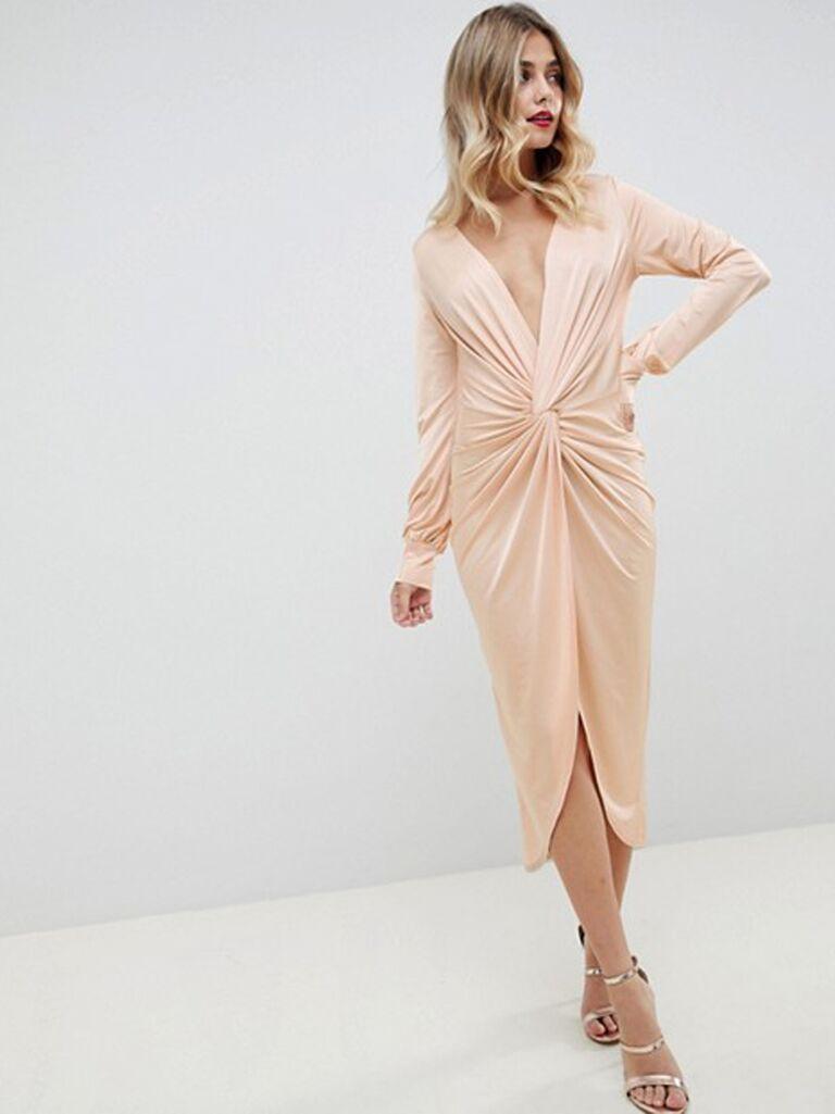asos slinky twist front midi dress