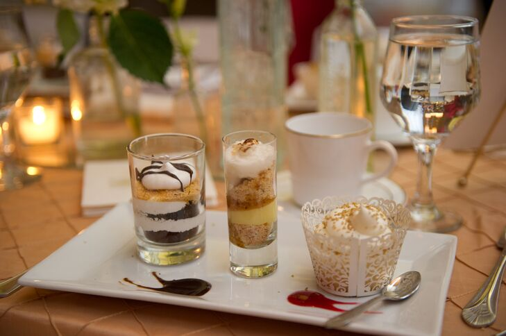 Sarah and Michael served kosher food options at their wedding reception, including a delicious assortment of dessert options, including whimsical layered cakes in clear glasses.