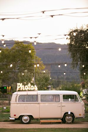 Café Lights and Vintage Trailer Photo Booth at California Wedding