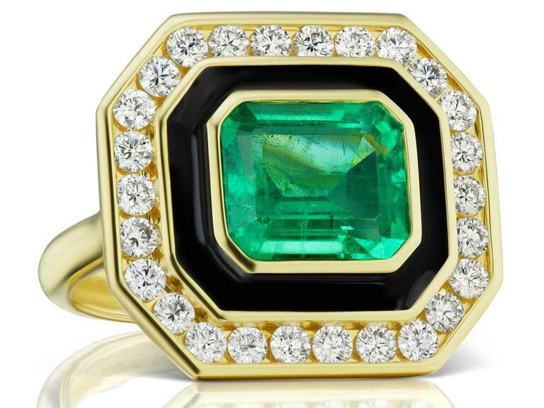 Emerald engagement ring with black ceramic and diamond halo