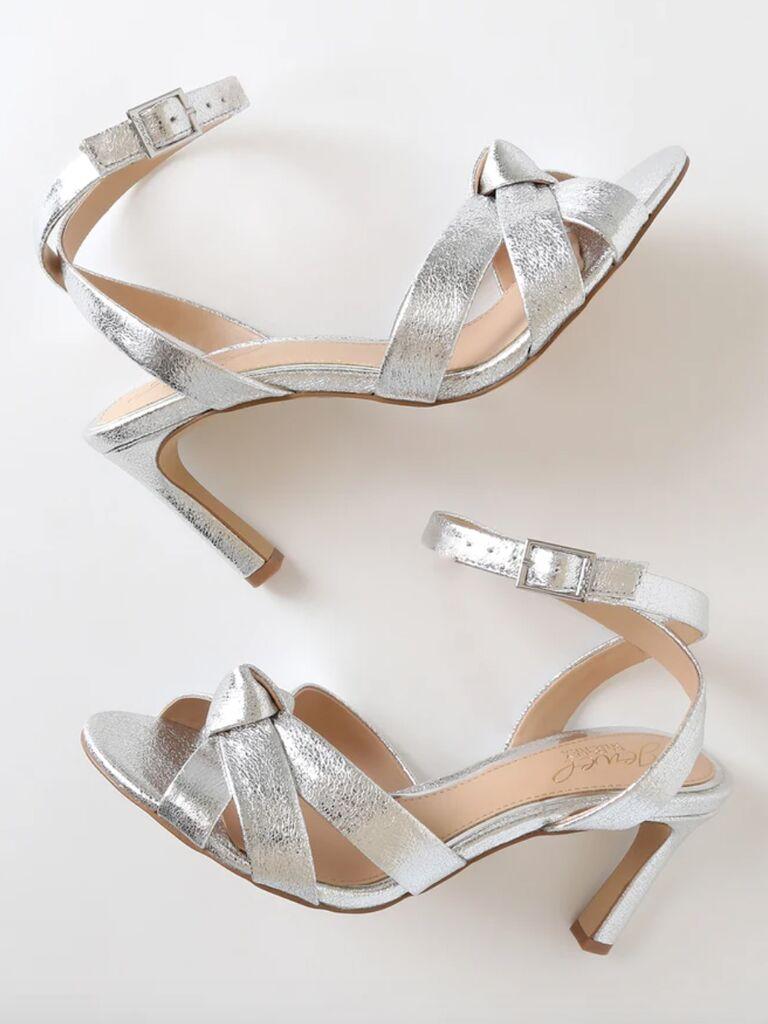 Jewel by Badgley Mischka Rhonda silver ankle strap heels
