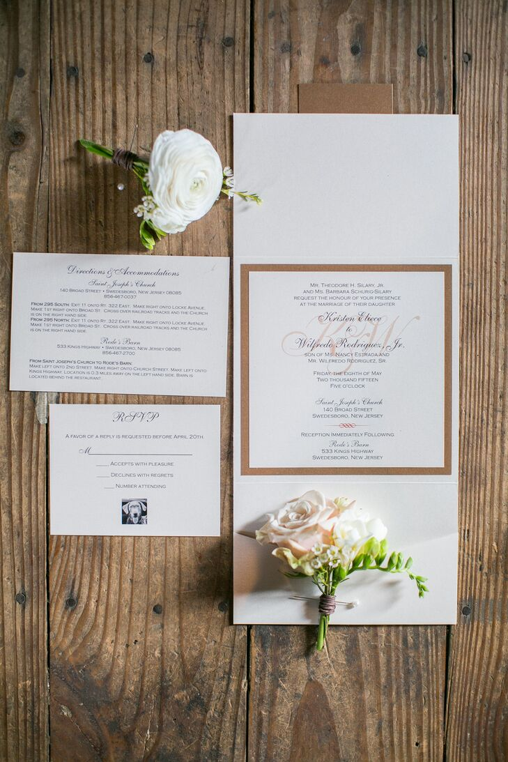 Kristen and Will incorporated their dog, Jeter, into a few aspects of the wedding, including their invitation suite. They chose classic ivory stationery with a small gold border that stood out from the center. A black-and-white image of Jeter was also placed on their RSVP card.