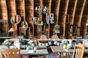 Vintage Reception Table Decor at Rubies and Rust Barn