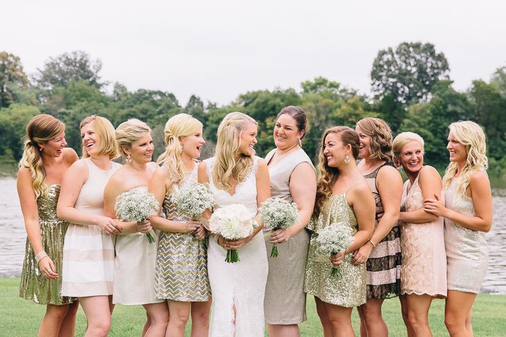aadd6e4272e4 Erin's bridal party dressed in knee-length mixed metallic dresses. The  bridesmaids dressed in