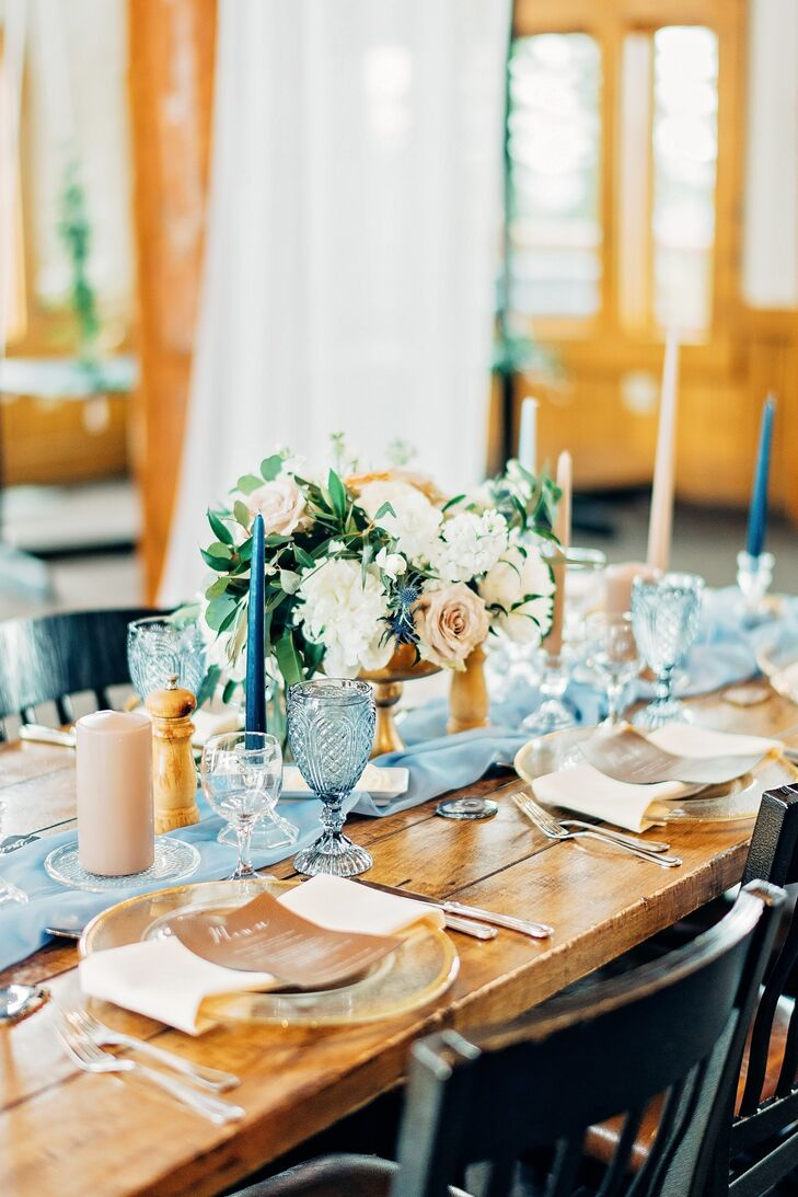 Farmhouse Dinner Tables Dressed with Blue Runners