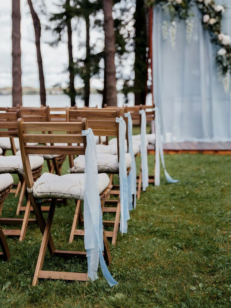 Light Blue Ribbons wedding aisle decor