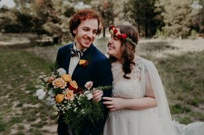 Bohemian Couple Wearing Flower Crown and Blue Suit