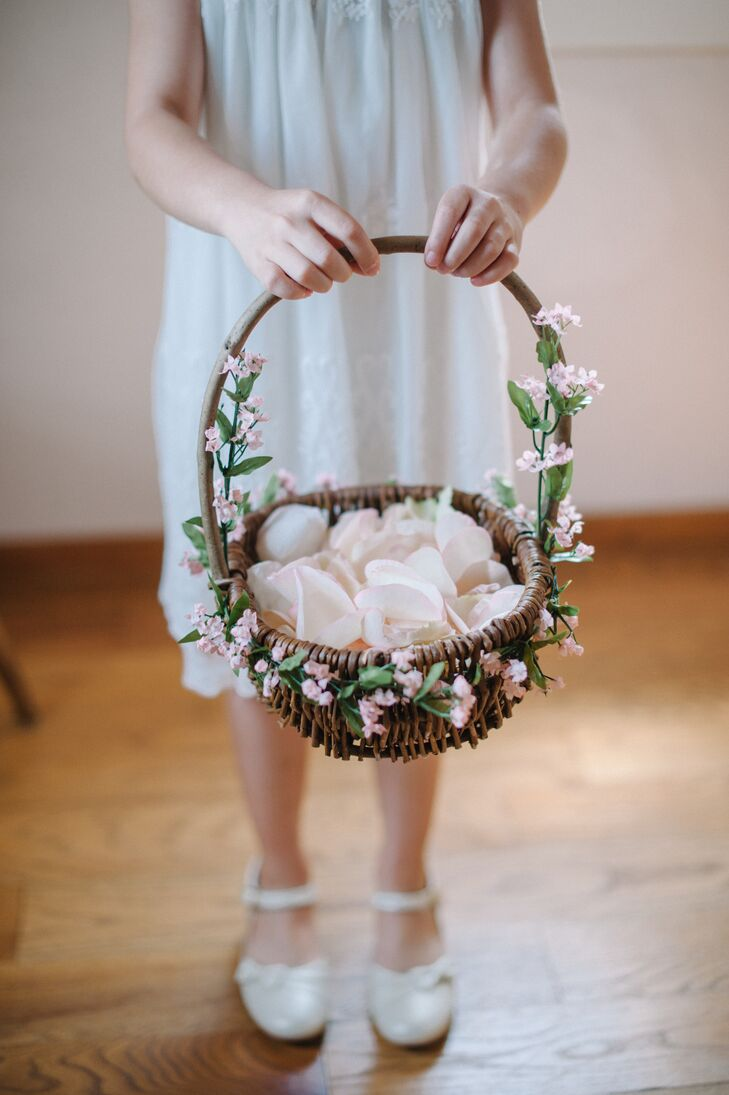 flower girl basket with pink flowers