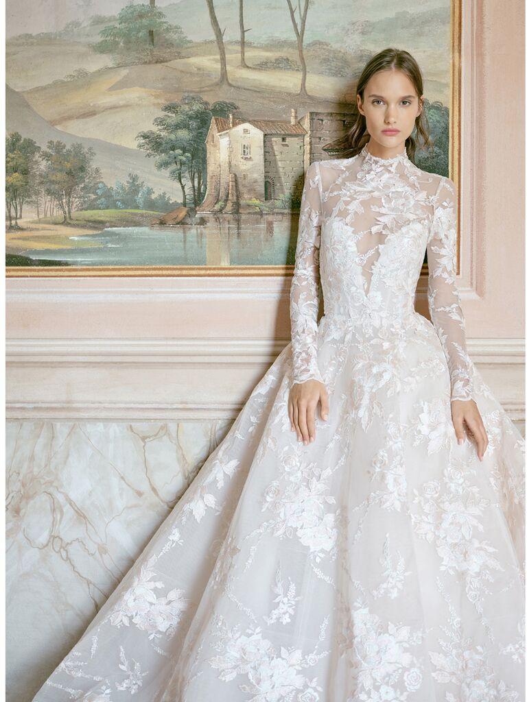 monique lhuillier long sleeve lace ballgown