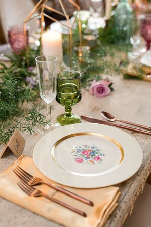 Vintage Place Settings at Wedding in Tunkhannock, Pennsylvania