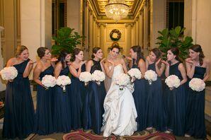Floor-Length Formal Navy Blue Bridesmaid Dresses