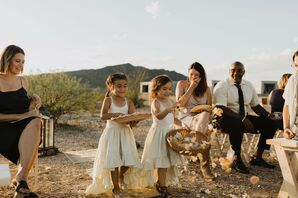 Bohemian Flower Girls with White Dresses and Woven Baskets
