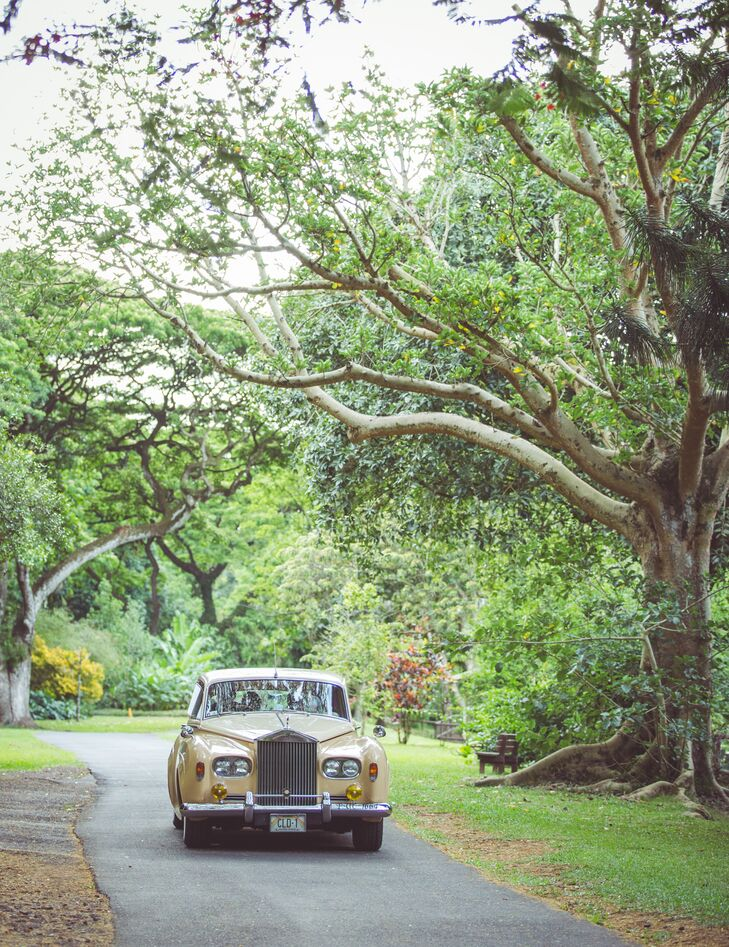 Beige Vintage Rolls Royce Wedding Transportation