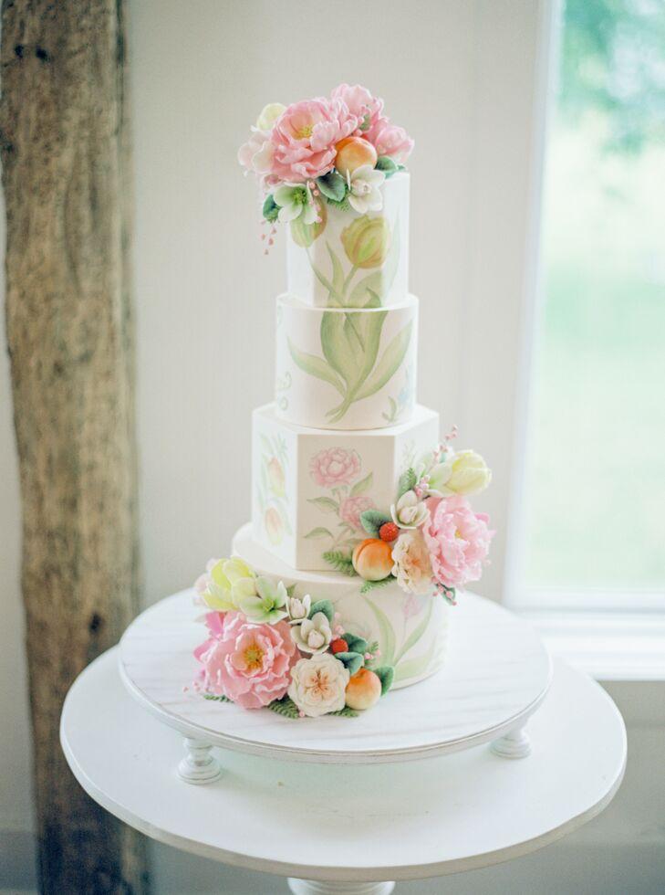 Botanical-Inspired Painted Wedding Cake at Pennsylvania Wedding