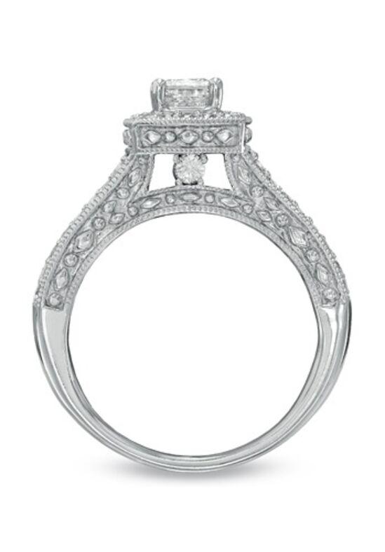 T W Princess Cut Diamond Frame Bridal Set In 14k White Gold Wedding Ring The Knot