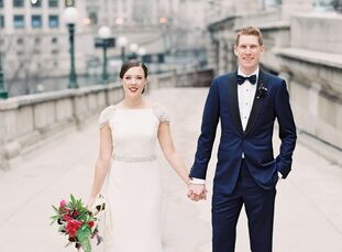Natalie Butters (28 and a stylist at Trunk Club) and Kevin Grace's (30 and a restaurant general manager) respective birthstones of emerald and amethys
