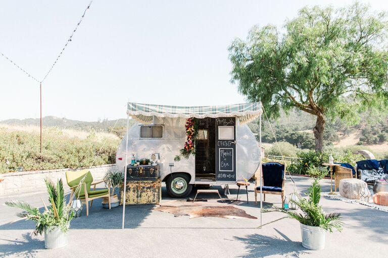 Camper photo booth at desert wedding