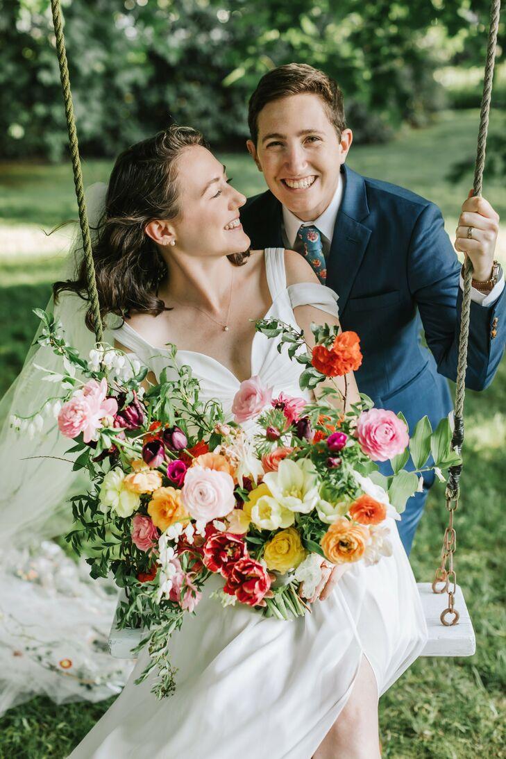 Couple on Swing During Backyard Minimony in Reading, Massachusetts