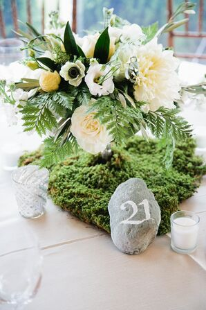 Natural Centerpieces Made with Moss and Rock Table Numbers
