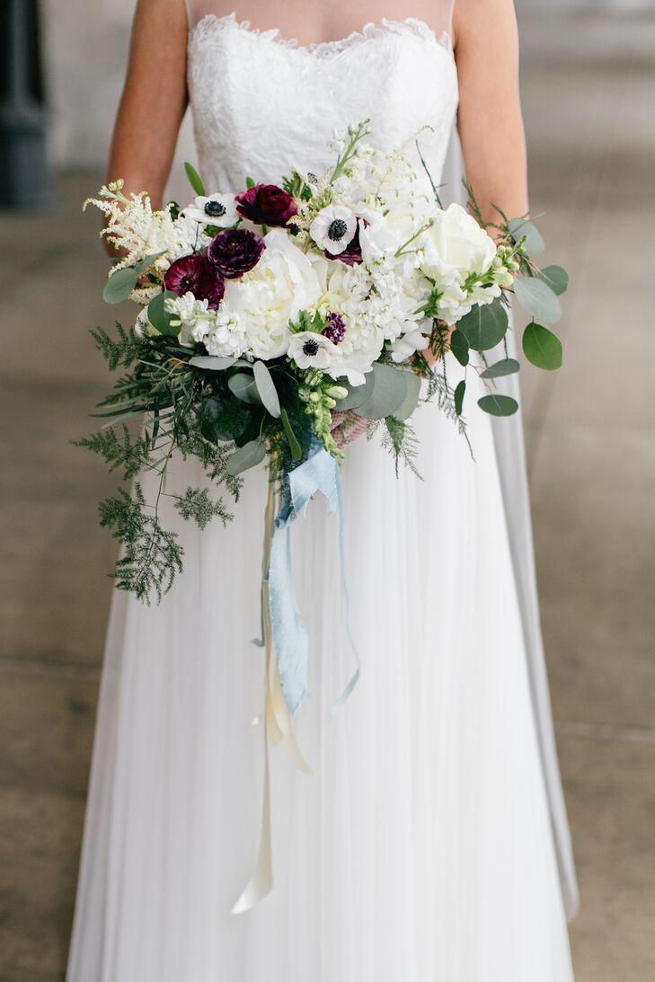 Purple And Green Wedding.Purple White Green Bridal Bouquet