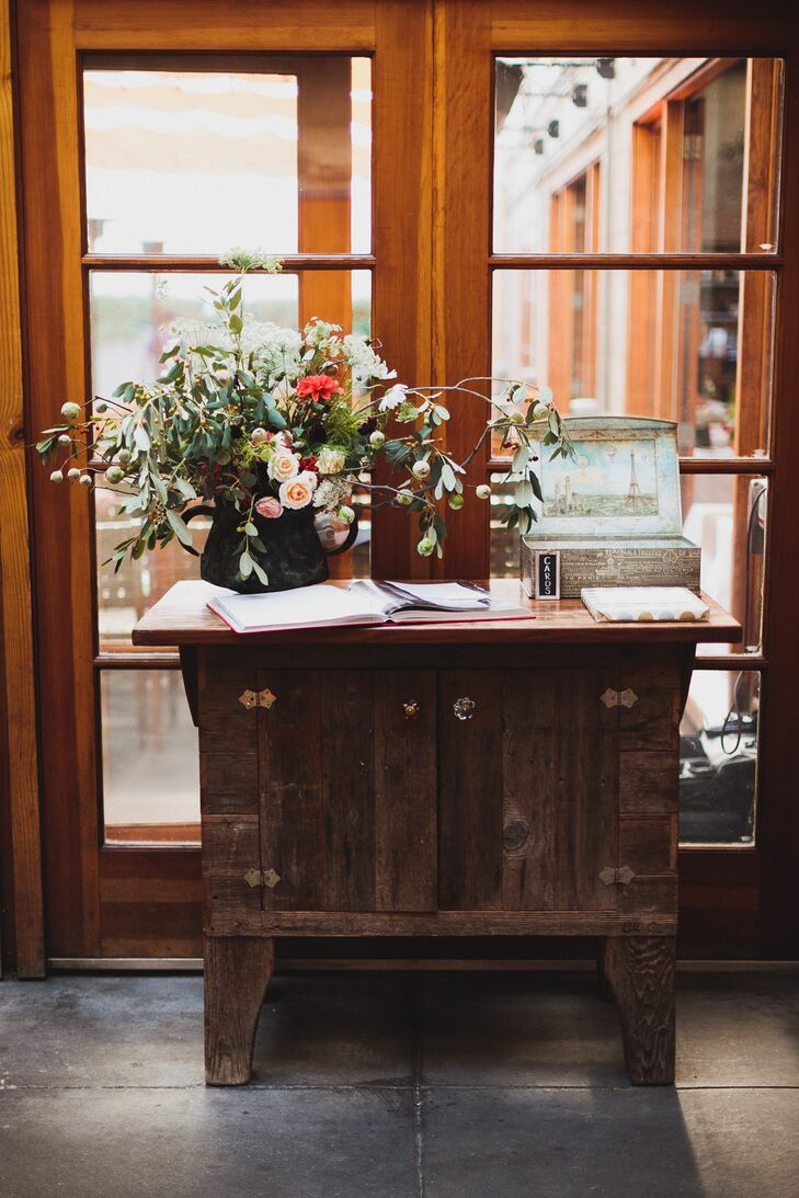 Rustic Table with Guest Book and Arrangement