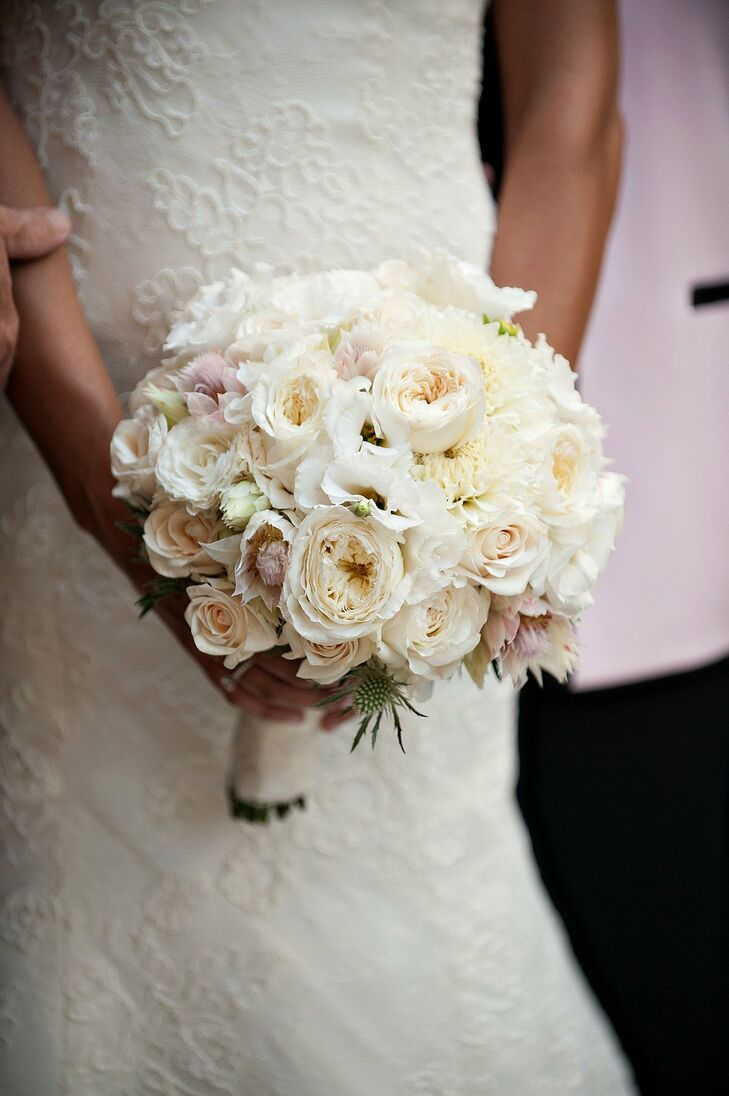 418a2ccc29 Beautiful soft pink and white peonies and roses combined with dahlias and  thistles for a unique