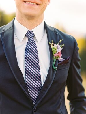 Striped Ties and Navy Groomsmen Suits