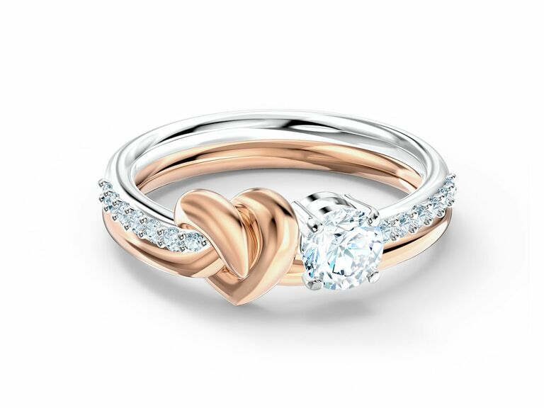 Pretty dual-tone metal ring with heart design and Swarovski crystals