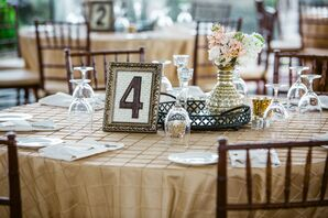 Vintage Gold-Framed Table Numbers