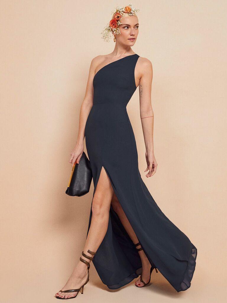 Reformation navy blue maxi dress with one shoulder neckline and high slit