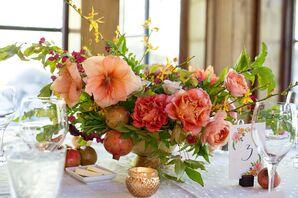 Coral Flower Centerpiece with Mercury Glass Votives